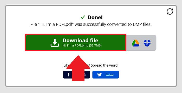 Downloading File in PDF Candy