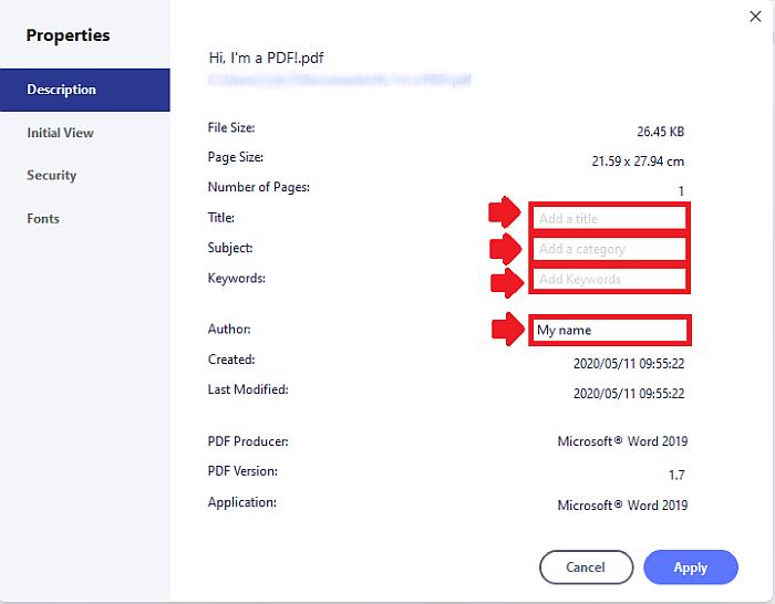 PDFelement Delete metadata