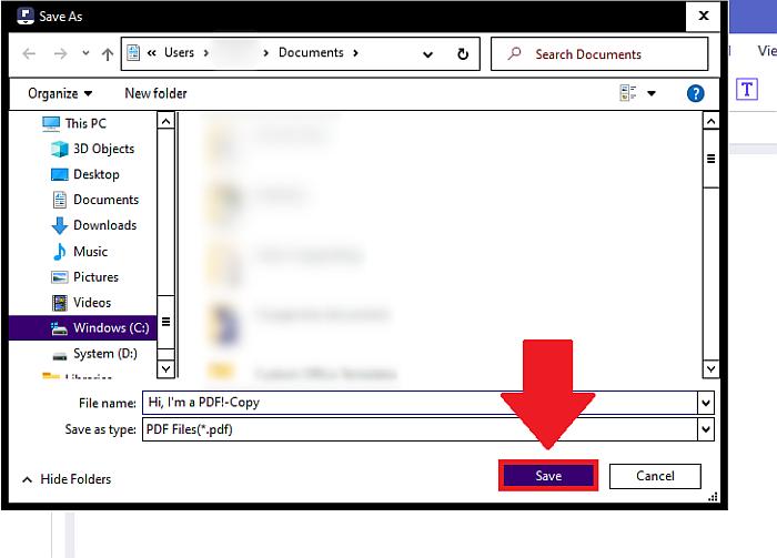 PDFelement click save