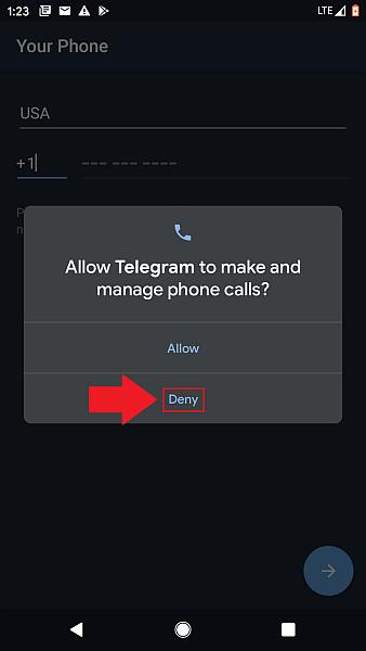 Telegram Tap Deny