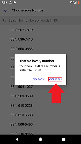 Text Free confirm new number
