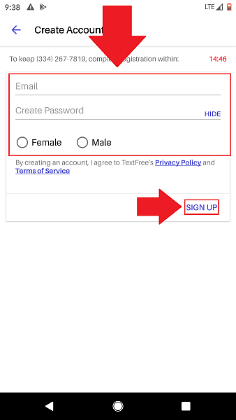 Text Free create account gender