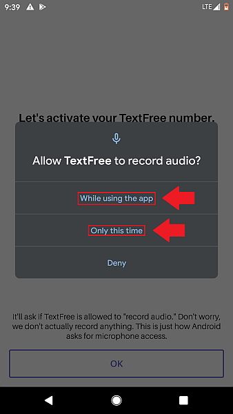 Text Free microphone access