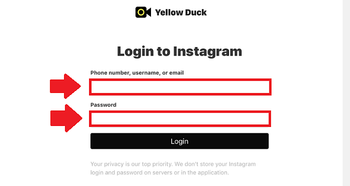 Yellow Duck Login to Instagram