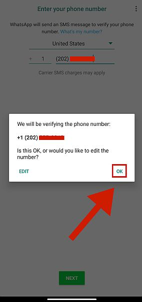 Whatsapp Phone Number Confirmation Dialogue Box