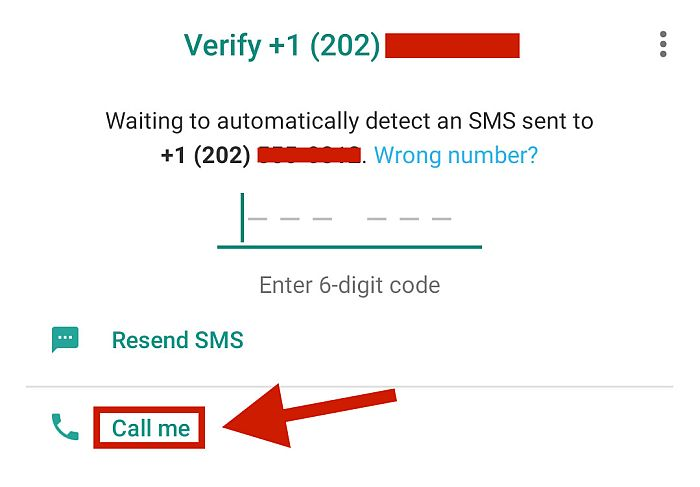 Whatsapp Verification Screen showing Verification options