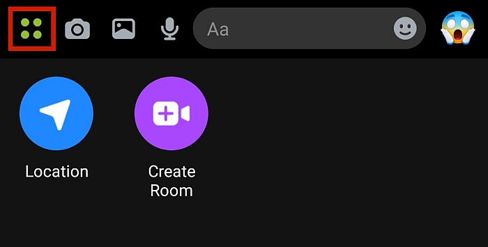 Messenger More Options Menu showing Location button and Create Room Button