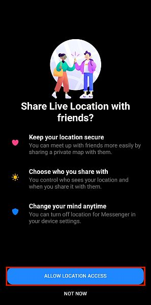 Messenger Location Access Confirmation Panel