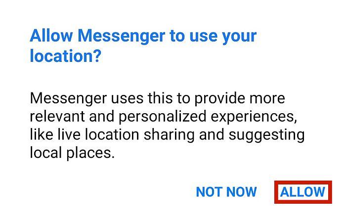 Messenger Location Access Confirmation Dialog Box