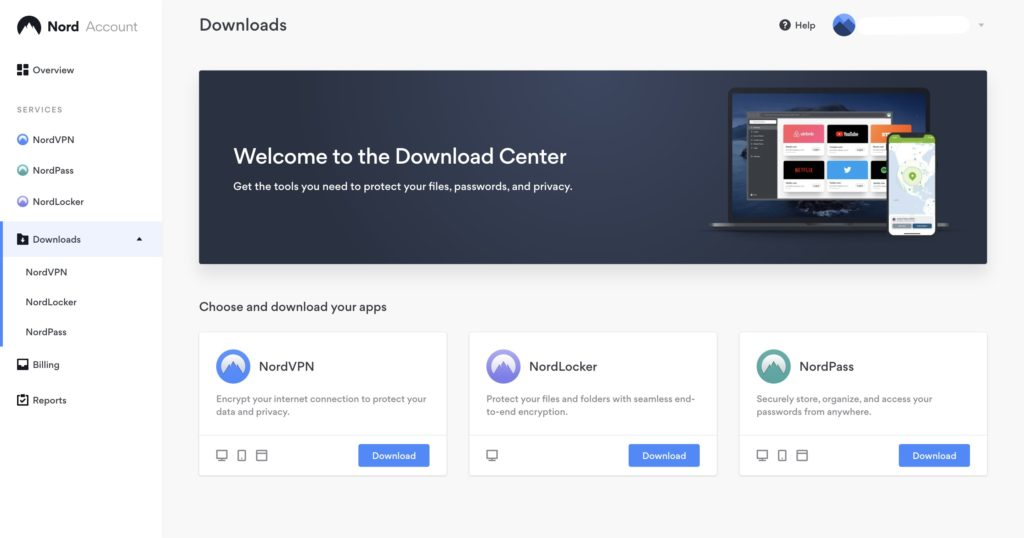 NordVPN download page