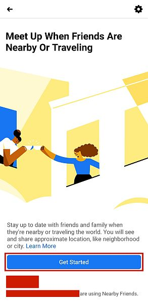 Facebook Nearby Friends Landing Page