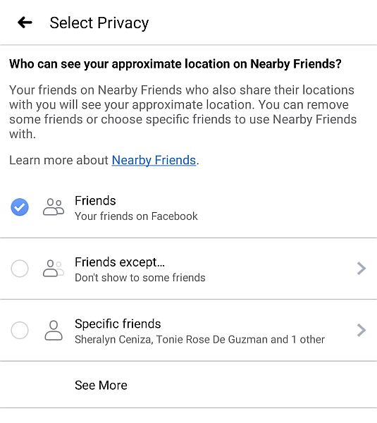 Facebook Privacy Setting for Location Sharing