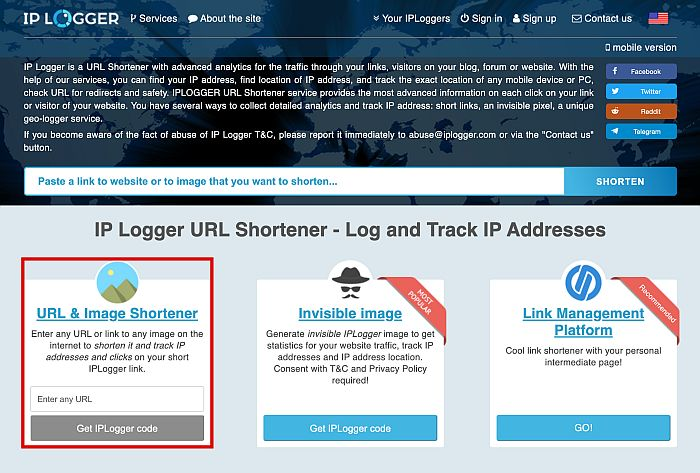 IP Logger Home Page