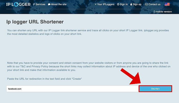 Ip Logger URL Shortener Page with highlighted Shorten Button