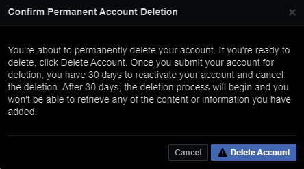 Confirm Permanent Account Deletion