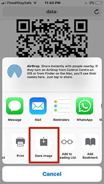 Saving QR Code Image to phone option on QiFi