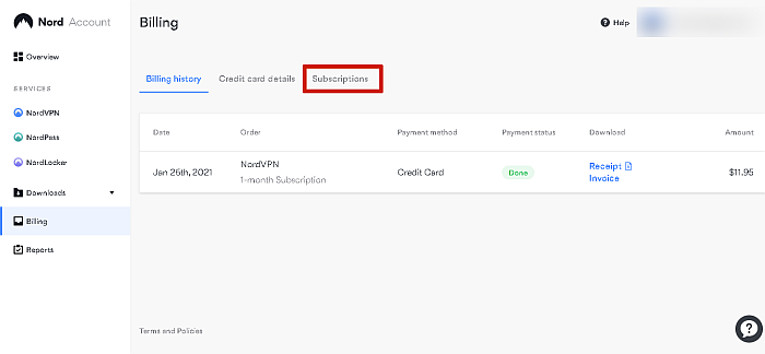 NordVPN Current Subscription Details