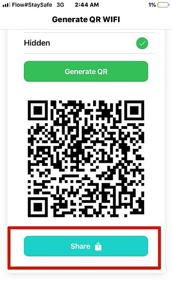 Sharing Wifi QR Code in Wifi QR Code Generator App