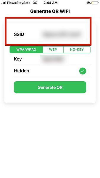 Enter Wifi SSID to Wif QR Code Generator App