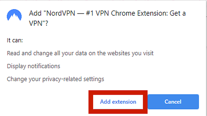 NordVPN Chrome Extension Dialog Box with Add extension highlighted