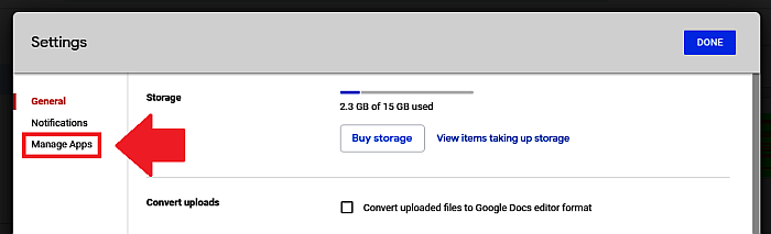 Google Drive Settings-Manage Apps