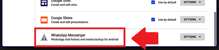 Google Drive - Manage Apps Page- WhatsApp Messenger Media Backup Option