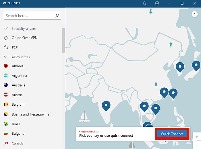 Nord VPN Server locations and the quick connect button