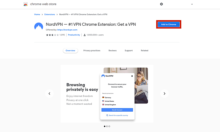 NordVPN extension in Chrome webstore