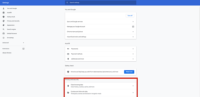Chrome Browser Settings Page