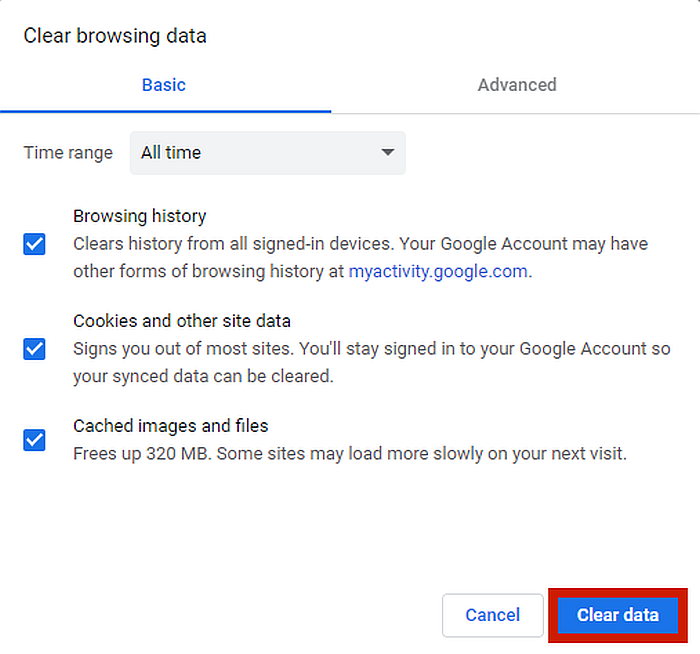 Chrome Clear Browsing Data Option