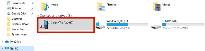 Clicking on a Connected Device in This PC on Computer