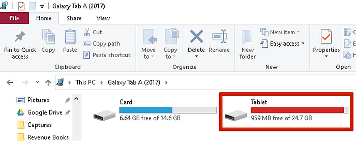 Available Device Storage Folders when opened in PC- internal storage highlighted