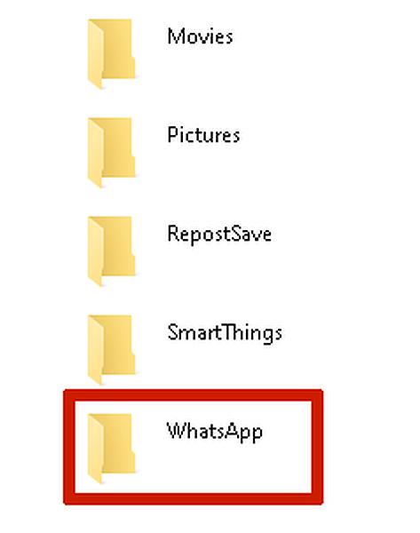 Selecting WhatsApp folder in PC