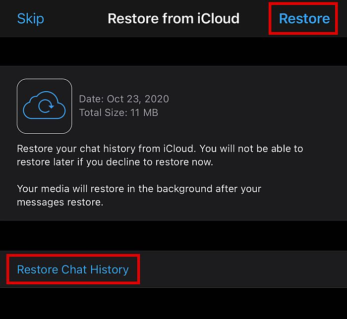 Restore Chat History Option in iCloud