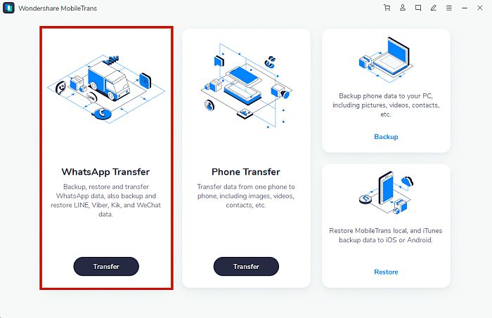 Mobiletrans app dashboard with the whatsapp transfer option highlighted