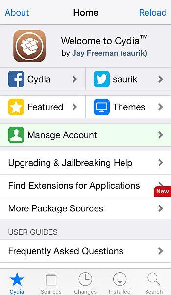 Cydia App Welcome Screen