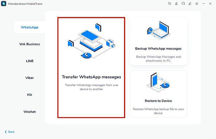 Transfer WhatsApp messages option in MobileTrans