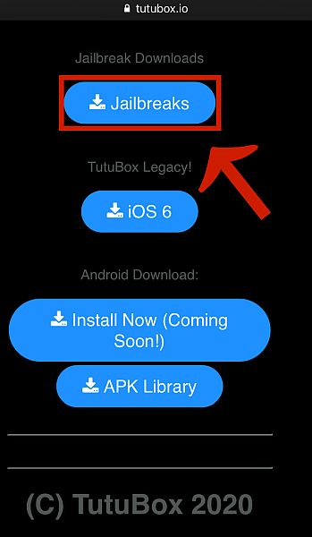 Jailbreaks button in Tutobox.io