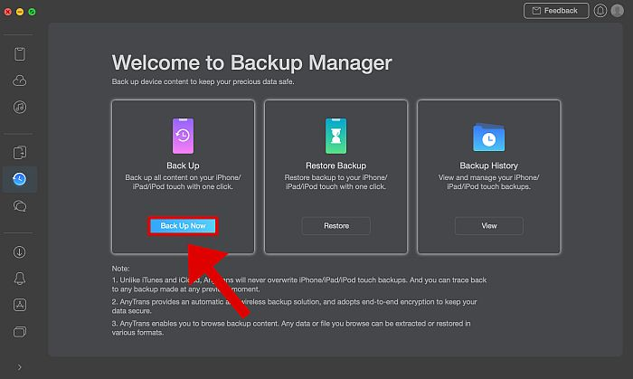 AnyTrans Back Up manager Page