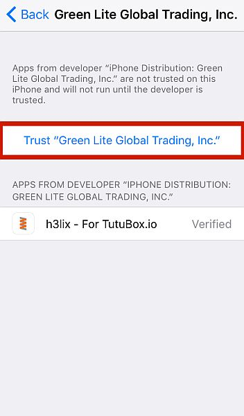 Device Management tab with Trust Green Lite Global Trading, Inc Button