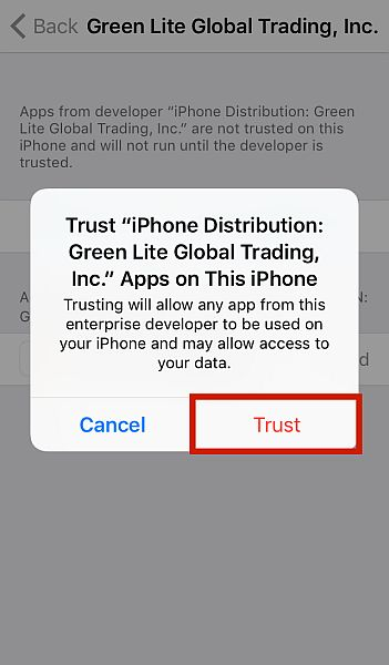 iPhone Pop up for Trusting Unverified Apps