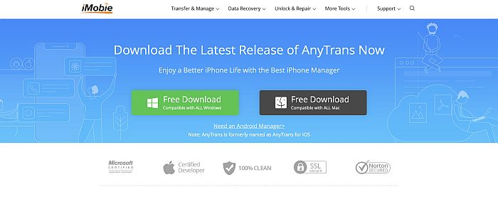 AnyTrans Landing Page