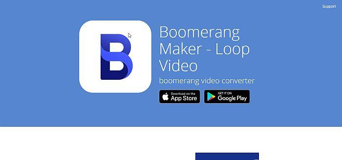 Boomerang Loop Video Maker Home Page