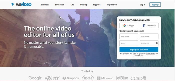 WeVideo Online Video Editor Home Page
