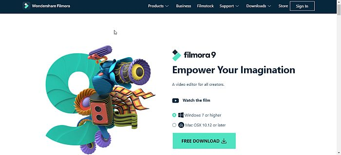 Wondershare Filmora Home Page