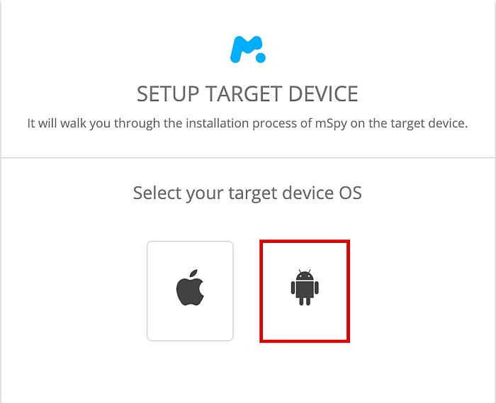 Mspy installation packages with Android package highlighted