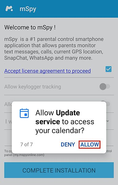 granting mSpy access to data on Android device