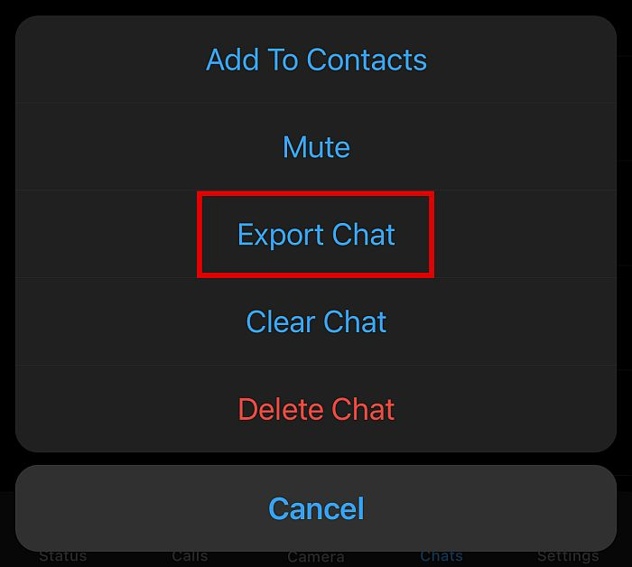 WhatsApp Export Chat Option in Android