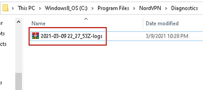 NordVPN Dianostic files zipped