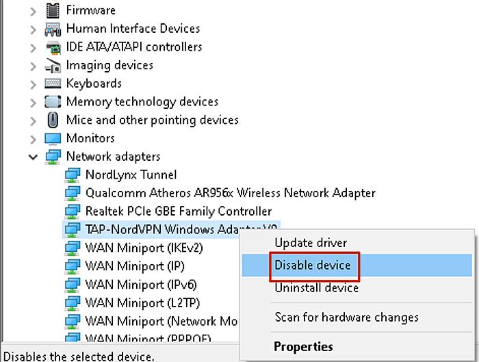 Disabling TAP-NordVPN Windows Adapter V9